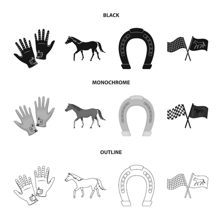 Race, track, horse, animal .Hippodrome and horse set collection icons in black,monochrome,outline style vector symbol stock illustration web. 向量圖像