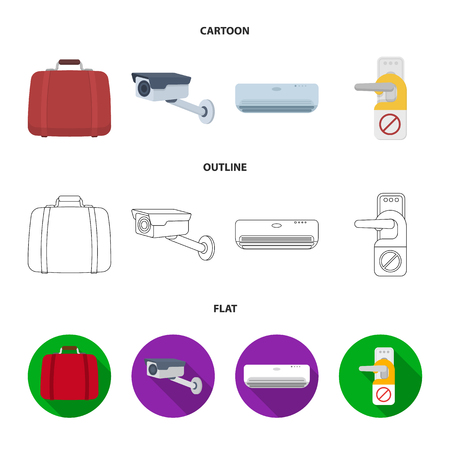 Luggage, surveillance camera, air conditioning, do not disturb the sign.Hotel set collection icons in cartoon,outline,flat style vector symbol stock illustration web.