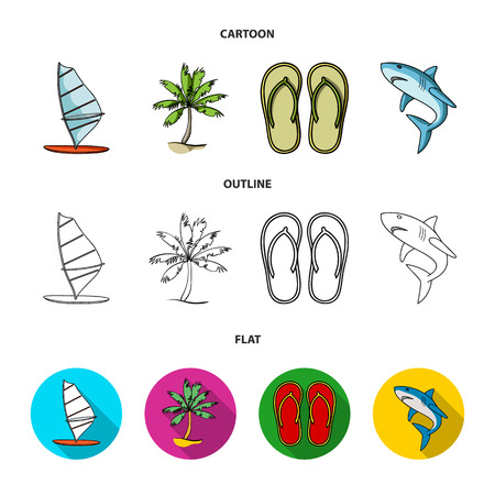 Board with a sail, a palm tree on the shore, slippers, a white shark. Surfing set collection icons in cartoon,outline,flat style vector symbol stock illustration web.