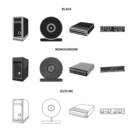 System unit, memory card and other equipment. Personal computer set collection icons in black,monochrome,outline style vector symbol stock illustration web. Archivio Fotografico - 105556195