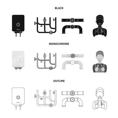 Boiler, plumber, ventils and pipes.Plumbing set collection icons in black,monochrome,outline style vector symbol stock illustration web.