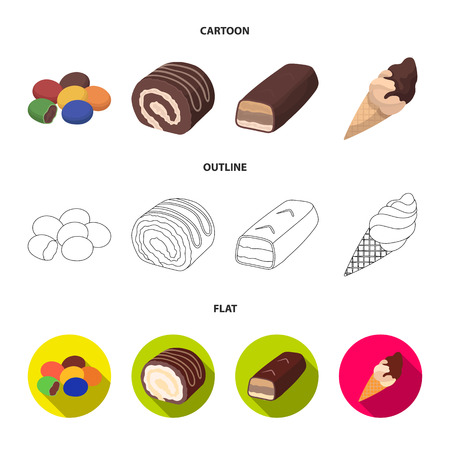 Dragee, roll, chocolate bar, ice cream. Chocolate desserts set collection icons in cartoon,outline,flat style vector symbol stock illustration web. Stock Photo