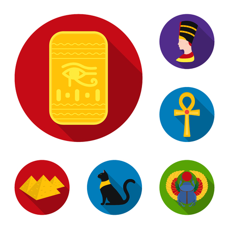 Ancient Egypt flat icons in set collection for design. The reign of Pharaoh vector symbol stock web illustration.