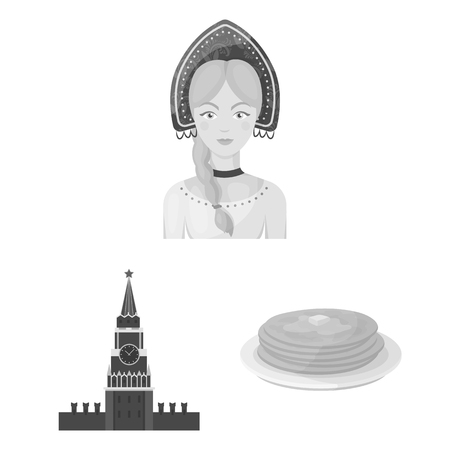 Country Russia, travel monochrome icons in set collection for design. Attractions and features vector symbol stock  illustration.