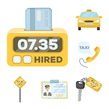 Taxi service cartoon icons in set collection for design. Taxi driver and transport vector symbol stock  illustration. Vectores