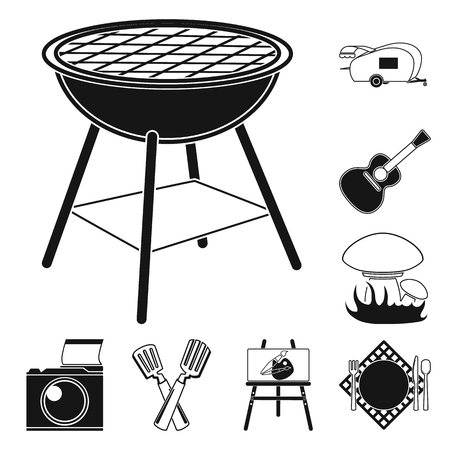 Picnic and equipment black icons in set collection for design. Picnic in the nature vector symbol stock  illustration.