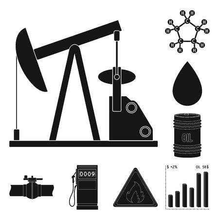 Icone nere di industria petrolifera nella raccolta di set per il disegno. Attrezzature e produzione di olio simbolo vettore illustrazione stock.