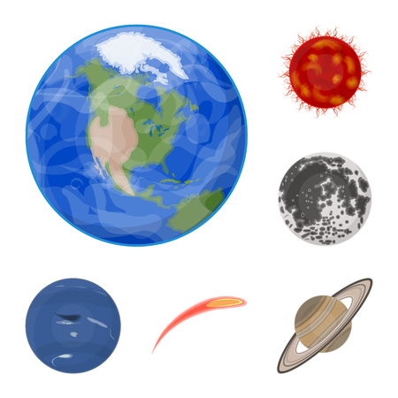 Planets of the solar system cartoon icons in set collection for design. Cosmos and astronomy vector symbol stock illustration.