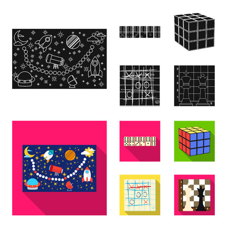 Board game black,flat icons in set collection for design. Game and entertainment vector symbol stock  illustration. Иллюстрация