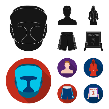 Boxing, sport, mask, helmet .Boxing set collection icons in black, flat style vector symbol stock illustration .