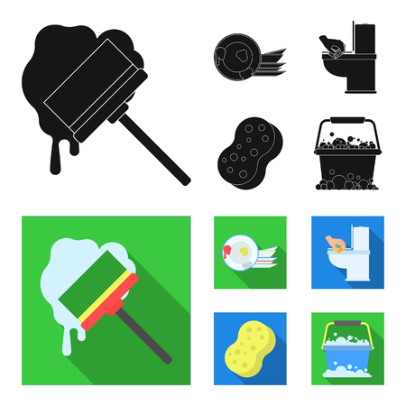 Cleaning and maid black,flat icons in set collection for design. Equipment for cleaning vector symbol stock  illustration.