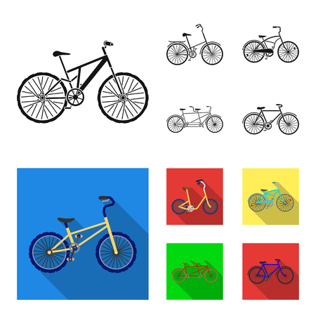 Children bicycle, a double tandem and other types.Different bicycles set collection icons in black,flat style vector symbol stock illustration . Ilustracja