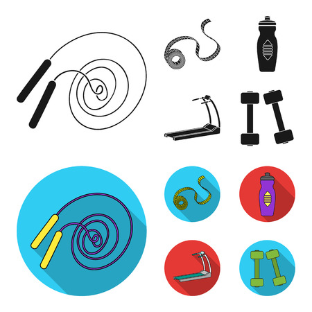 Measuring tape, water bottle, treadmill, dumbbells. Fitnes set collection icons in black,flat style vector symbol stock illustration . Stock Illustratie