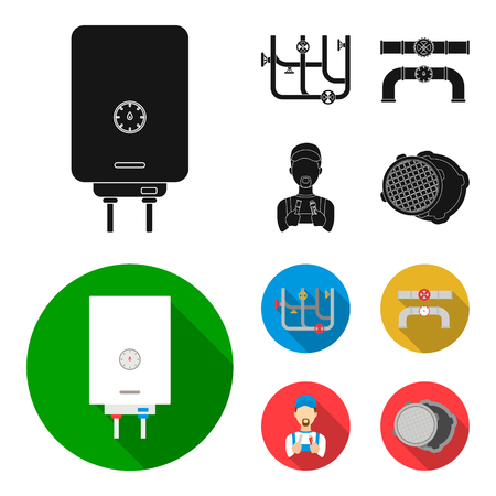 Boiler, plumber, ventils and pipes.Plumbing set collection icons in black, flat style vector symbol stock illustration .
