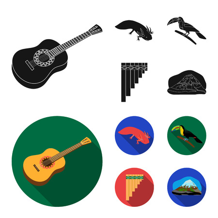 Sampono Mexican musical instrument, a bird with a long beak, Orizaba is the highest mountain in Mexico, axolotl is a rare animal. Mexico country set collection icons in black,flat style vector symbol stock illustration . Illustration
