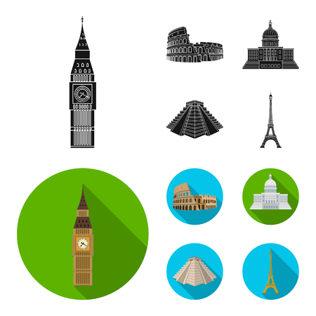 Sights of different countries black,flat icons in set collection for design. Famous building vector symbol stock  illustration.