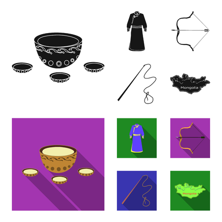 .mongol dressing gown, battle bow, theria on the map, Urga, Khlyst. Mongolia set collection icons in black,flat style vector symbol stock illustration . Çizim