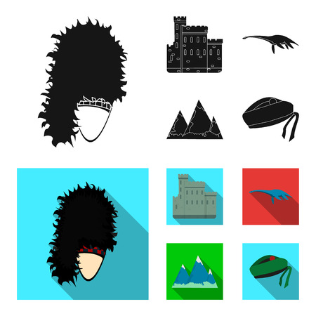 Edinburgh Castle, Loch Ness Monster, Grampian Mountains, national cap balmoral, tam o shanter.Scotland set collection icons in black,flat style vector symbol stock illustration . Çizim