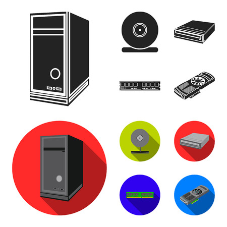 System unit, memory card and other equipment. Personal computer set collection icons in black, flat style vector symbol stock illustration . Archivio Fotografico - 105620720