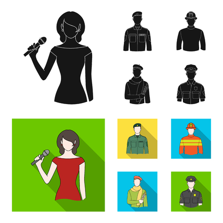 Military, fireman, artist, policeman.Profession set collection icons in black,flat style vector symbol stock illustration .