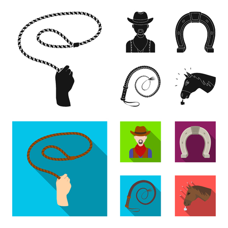 Hand lasso, cowboy, horseshoe, whip. Rodeo set collection icons in black, flat style vector symbol stock illustration . Illustration