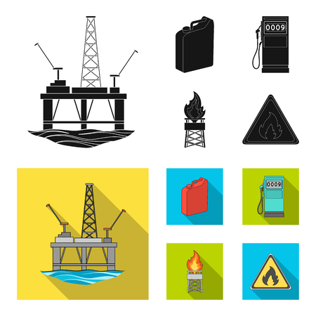 Canister for gasoline, gas station, tower, warning sign. Oil set collection icons in black,flat style vector symbol stock illustration .