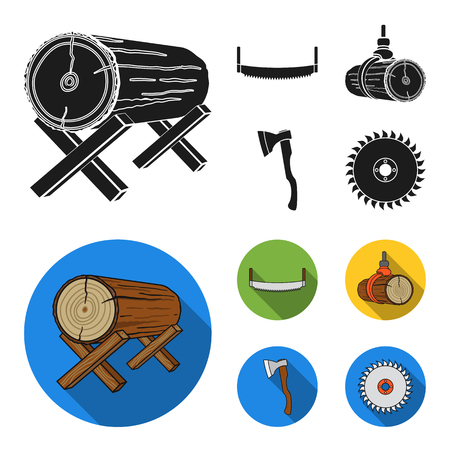Log on supports, two-hand saw, ax, raising logs. Sawmill and timber set collection icons in black, flat style vector symbol stock illustration .