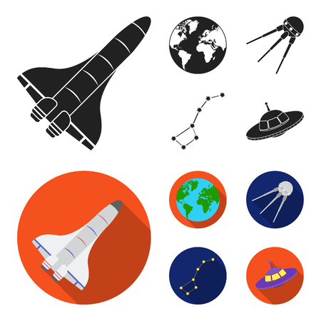 Planet Earth with continents and oceans, flying satellite, Ursa Major, UFO. Space set collection icons in black,flat style vector symbol stock illustration . Иллюстрация