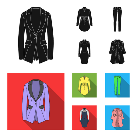 Women Clothing black, flat icons in set collection for design.Clothing Varieties and Accessories vector symbol stock illustration.
