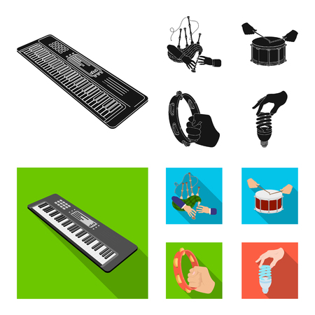 Synthesizer melodies, bagpipes Scotch and other  icon in black, flat style. drum, drum roll, tambourine in hand icons in set collection.