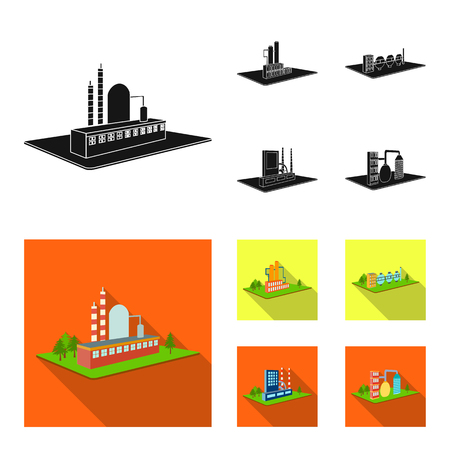 Processing factory,metallurgical plant. Factory and industry set collection icons in black, flat style isometric vector symbol stock illustration .
