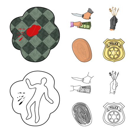 Robbery attack, fingerprint, police officer badge, pickpockets.Crime set collection icons in cartoon,outline style vector symbol stock illustration .