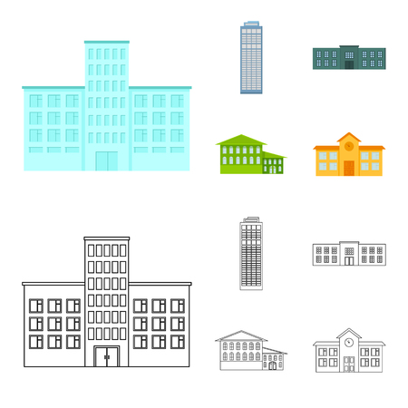 Skyscraper, police, hotel, school.Building set collection icons in cartoon,outline style vector symbol stock illustration . Illustration