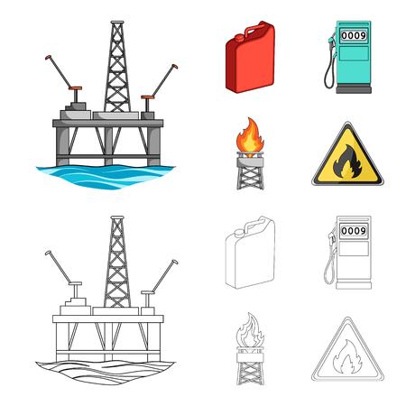 Canister for gasoline, gas station, tower, warning sign. Oil set collection icons in cartoon,outline style vector symbol stock illustration . Ilustração