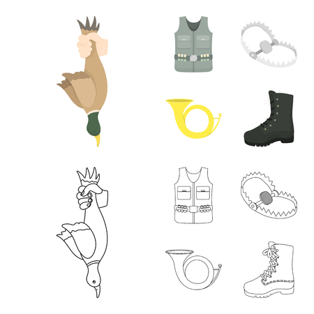 A trophy in his hand, a steel trap, a hunting vest with patronage, a horn..Hunting set collection icons in cartoon,outline style vector symbol stock illustration . Illusztráció