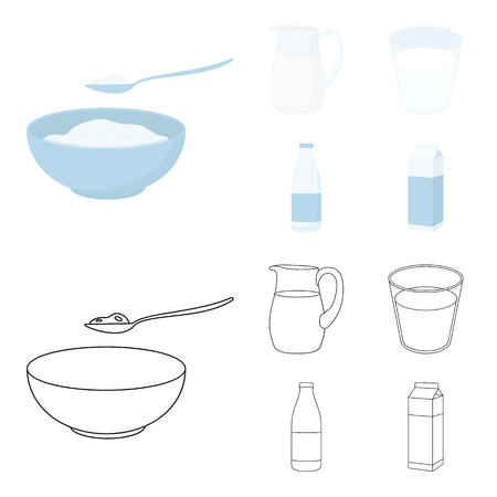 Bowl of cottage cheese, a glass, a bottle of kefir, a jug. Moloko set collection icons in cartoon,outline style vector symbol stock illustration .