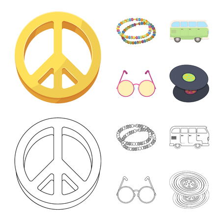 A hippie sign, beads, a bus, round glasses.Hippy set collection icons in cartoon,outline style vector symbol stock illustration. Ilustracja