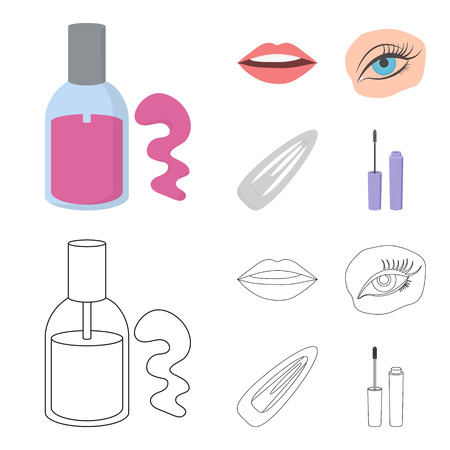 Nail polish, tinted eyelashes, lips with lipstick, hair clip.Makeup set collection icons in cartoon,outline style vector symbol stock illustration .