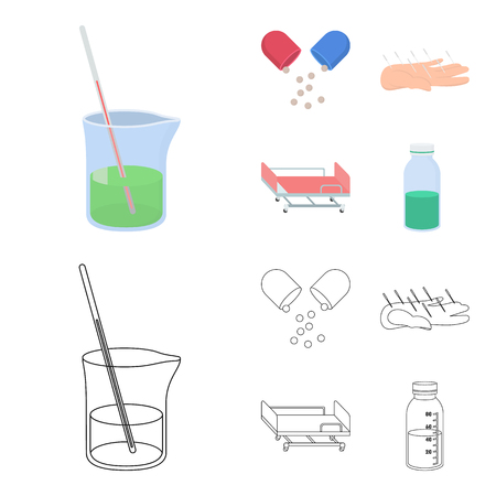 Solution, tablet, acupuncture, hospital gurney.Medicine set collection icons in cartoon,outline style vector symbol stock illustration .