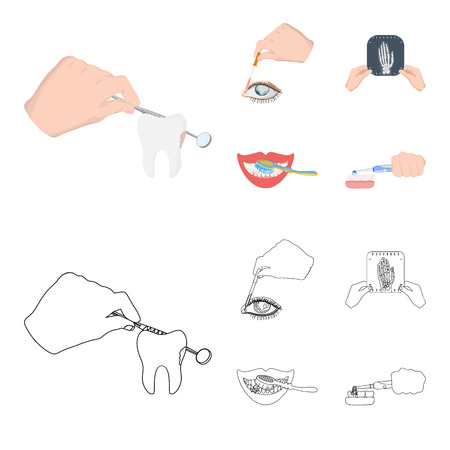 Examination of the tooth, instillation of the eye and other  icon in cartoon,outline style. A snapshot of the hand, teeth cleaning icons in set collection. Illustration