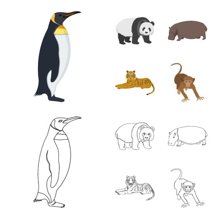 Bamboo bear, hippopotamus, wild animal tiger, monkey . Wild animal set collection icons in cartoon,outline style vector symbol stock illustration .
