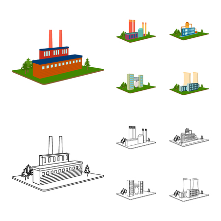Processing factory,metallurgical plant. Factory and industry set collection icons in cartoon,outline style isometric vector symbol stock illustration . Фото со стока - 105620859