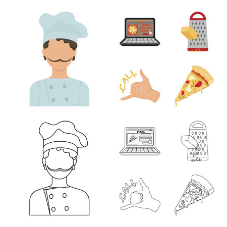 Cook, order by phone, grated cheese, ordering a face gesture.Pizza and pizzeria set collection icons in cartoon,outline style vector symbol stock illustration . Illustration