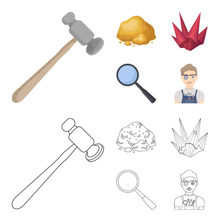 A jeweler hammer, a magnifier, a copper ore, a crystal. Precious minerals and a jeweler set collection icons in cartoon,outline style vector symbol stock illustration . Illustration