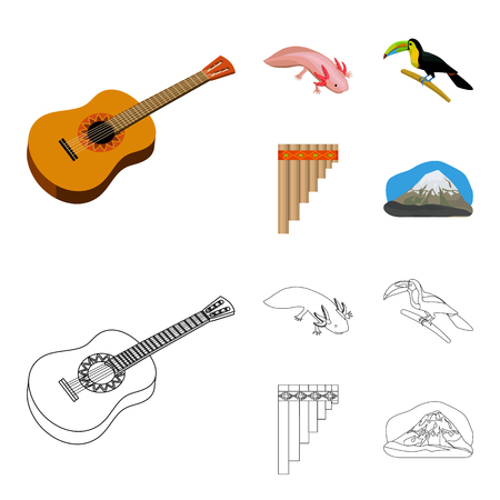 Sampono Mexican musical instrument, a bird with a long beak, Orizaba is the highest mountain in Mexico, axolotl is a rare animal. Mexico country set collection icons in cartoon,outline style vector symbol stock illustration web.