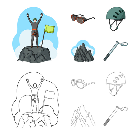 Helmet, goggles, wedge safety, peaks in the clouds.Mountaineering set collection icons in cartoon,outline style vector symbol stock illustration web.