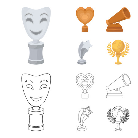 White Mask Mime for the best drama, a prize in the form of the heart and other prizes.Movie awards set collection icons in cartoon,outline style vector symbol stock illustration web.