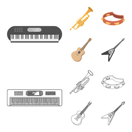 Electro organ, trumpet, tambourine, string guitar. Musical instruments set collection icons in cartoon,outline style vector symbol stock illustration . Illustration