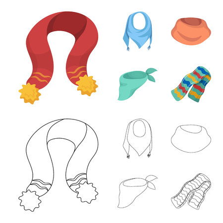 Various kinds of scarves, scarves and shawls. Scarves and shawls set collection icons in cartoon,outline style vector symbol stock illustration .