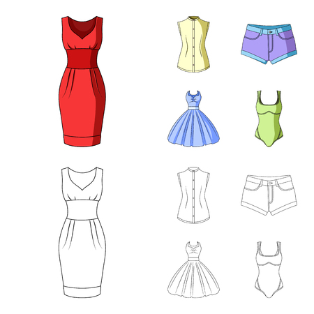 Women Clothing cartoon,outline icons in set collection for design.Clothing Varieties and Accessories vector symbol stock illustration.